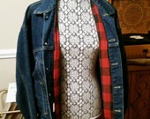 Levis Denim Red Plaid Flannel Lined Jean Jacket