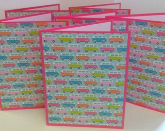 Bus Notes, VW Bus Note Cards, Bus Stationery Set, Pink Notes, 6 Cards and Envelopes
