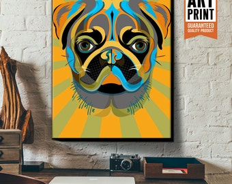 PUG, Dog, Art Print, Pop Art style, Poster size, Canvas Art Print in blue, green, yellow and orange, available in 18x24 or 24x36.