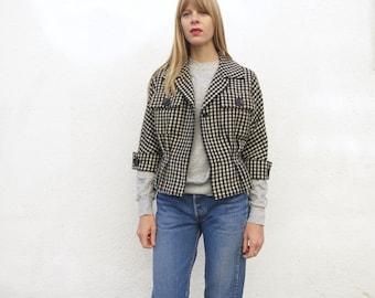 Wool Jacket 60s Checker Wool Black and White Sz. M