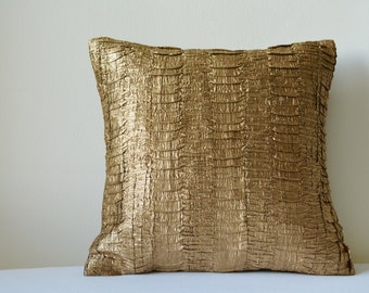 Copper/ Bronze Metallic Pillow Cover with Textured Pleats , Copper Decorative Pillow , Textured Copper Cushion Cover , Homewares