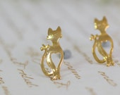 Gift For Women, Halloween Cat Earrings, Halloween accessory, Halloween Jewelry, Gold Studs Earrings , Gold Earring Post ,Gold Cats Jewelry