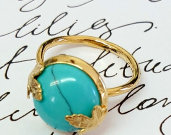 Turquoise Birthstone Ring ,Gemstone Ring, Maple Leaf Ring, Birthday Gift, December Birthstone, Unique Turquoise Ring, Gold and Turquoise