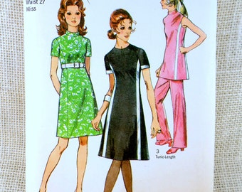 Vintage Sewing Pattern Simplicity 9206 Princess seams dress tunic pantsuit racing stripe High waist 1970s Bust 36