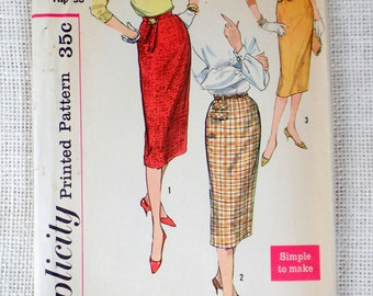 Simplicity 2655 Vintage Sewing Pattern skirt slim pencil skirt 26 waist 1958 Marilyn Monroe western styling 1950s