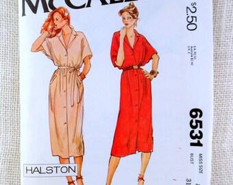 Vintage Halston pattern Bust 36 McCall's 6531 batwing dolman oversized 1970s dress Studio 54 American Hustle shirtwaist