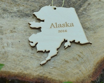 Natural Wood Alaska State Ornament WITH 2016