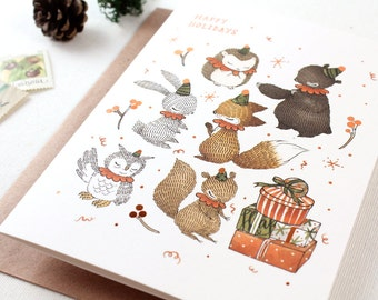 Christmas Card - Happy Holidays with Woodland Elves - 10 Copper Foil Greeting Cards