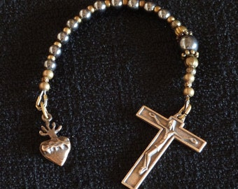 One decade Catholic Rosary, Austrian Crucifix, Sacred Heart medal.