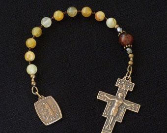 One decade Catholic Rosary, San Damiano Crucifix, St Francis of Assisi medal.