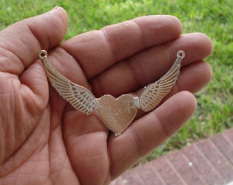 Milagro Heart With Wings DIY Necklace  Milagros Ex voto Nicho Style Silver  Tone