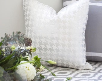 Metallic Silver Houndstooth fabric by the yard