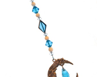 Moon & Crystal Ornament Blue Hanging Beaded Crystal Feng Shui Sparkles Crescent Moon California Blue