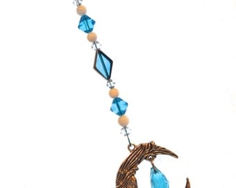 Ornament Moon & Crystal Ornament Blue Hanging Beaded Crystal Feng Shui Sparkles Crescent Moon California Blue