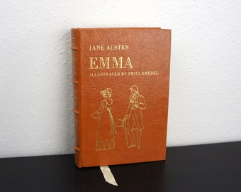 Emma by Jane Austen, Vintage Hard Cover Book, Genuine Leather Bound, Illustrated by Fritz Kredel, Collector's Library Classic Fiction 500039