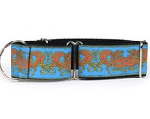 "Greyhound Dog Collar - Celtic Knot in Blue and Orange - 2"" Martingale Dog Collar (C-Blue/Red)"