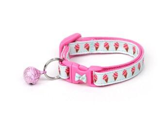 Ice Cream Cat Collar - Strawberry Ice Cream Cones - Small Cat / Kitten Size or Large Size