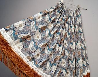 Boho Paisley print skirt , lace and fringe detail