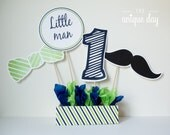 Little man birthday centerpiece - personalized - mustache birthday - printable - decoration - DIY // MUST-06