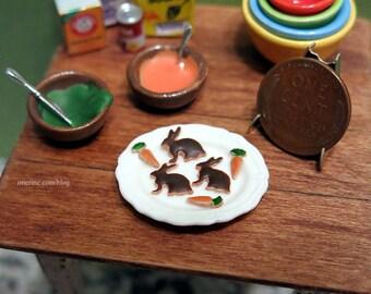 Half dozen gourmet Chocolate Bunny and Carrot cookies - dollhouse miniature