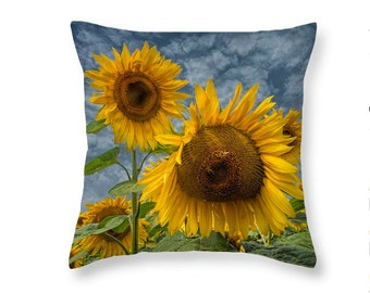 Radiant Sunflowers on a Throw Pillow from a Michigan Field No.112 Fine Art Nature decorative novelty pillow Home Décor cushion cover