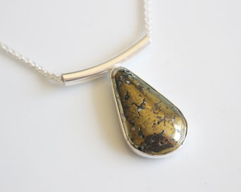 Last Minute Gift Chalcopyrite Necklace / Golden Necklace with Chalcopyrite in Sterling Silver / Metallic Stone necklace