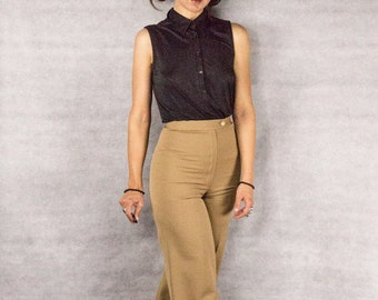 70s VALENTINO Gabardine High Rise Flaired Trousers ///size XS-S