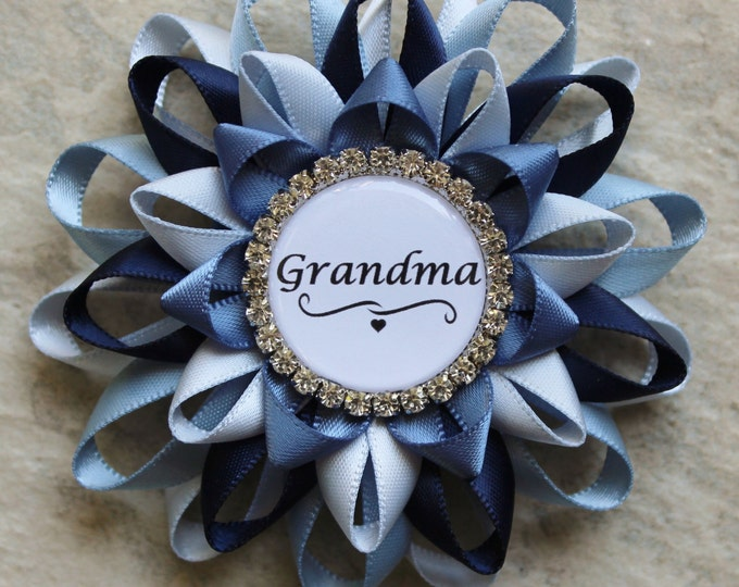 Blue Baby Shower Pins, Boy Baby Shower, Baby Boy Shower Ideas, Shades of Blue, Baby Shower Decorations, New Grandma Gift, Great Grandma, Mom