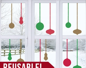 REUSABLE - Window Cling - Christmas Ornaments - Christmas Decorations - Christmas Decor - Christmas Wall Decor - Christmas Wall Art