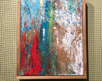 "Modern Abstract Painting, Framed Acrylic on Canvas 16"" x 20"""