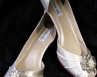 Wedding Shoes Ivory and White Bridal Shoes Pearl and Crystal Flower Design Over 100 Custom Color Choices