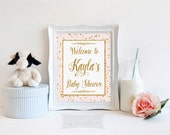 Baby Shower Welcome Sign, Pink and Gold Glitter Confetti Sign, Baby Girl, DIY PRINTABLE