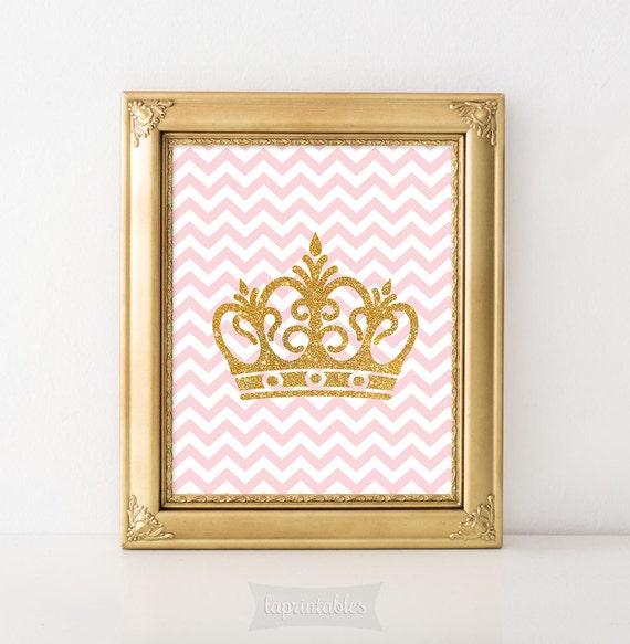 Gold Glitter Wall Decor : Crown digital art print pink gold glitter wall by