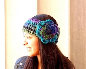 Crochet Headband, Flower Headband, Ear Warmer With Flower, Adult, Multi Color, Women