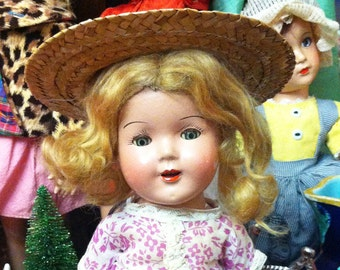 """1930's Shirley Temple Nancy type 13"""" Composition Doll"""