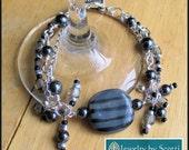 Black Gray Silver Statement Bracelet, Black Jewelry, Kazuri Bead Bracelet, Gray Ethnic Bracelet, Kazuri Hematite Jewelry, Gypsy Bracelet