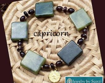 Green Capricorn Bracelet, Her Zodiac Bracelet, Astrology Bracelet, Brass Capricorn Charm, Her Elastic Bracelet, Capricorn Birthday Gift