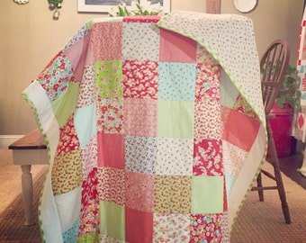 Little Girl Patchwork Quilt with Handmade Binding and matching Backing
