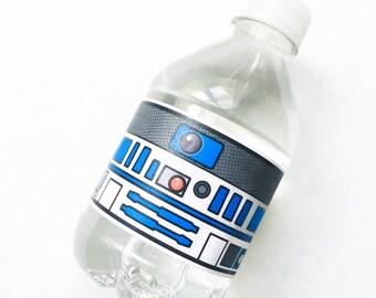 Star Battles. Droid Water Bottle Labels. DIGITAL DOWNLOAD. DiY Printable Design. Pinkadot Shop