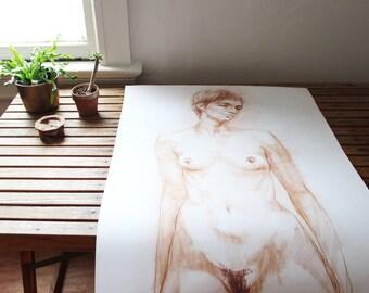 vintage original nude sketch, large scale