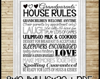 GRANDPARENTS House Rules Subway Art, Grandma & Grandpa Rules Sign - Printable Instant Download