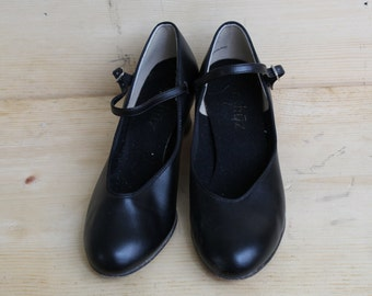 leather dance shoes size 7 black