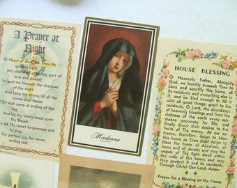 6 Vintage Holy Cards Prayer Book Catholic Religious Art Sassoferrato Picture Mary Madonna Jesus God Bless Holy Family Cross House Night Halo