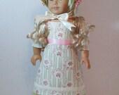 "Regency Era Summer Dress with Underdress, Bonnet, and Pantalettes for 18"" Dolls"