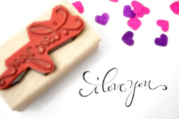 I Love You Calligraphy Stamp