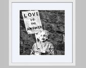 Framed Banksy Print - Love is the Answer Photograph - Valentines Day Gift - Ready to Hang Wall Decor - Black and White Photography Einstein