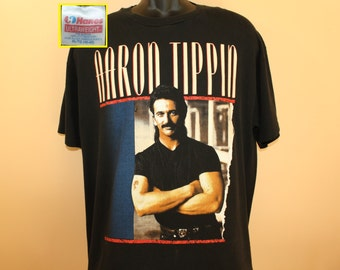 Aaron Tippin country music vintage t-shirt XL black 90s 1992 Read Between the Lines