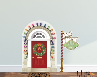 Elf Door - magic north pole door accessory prop decal set  - reusable fabric wall decals