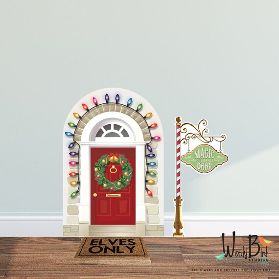 Christmas elf door decal elf prop wall decal set reusable for The magic elf door