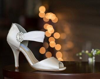 "Custom Color - Wedding Shoes Wedding Shoes-Bridal Shoes, 4"" heels-Peep Toe - 250 Custom Colors-Perfect Bridal Shoes, Pink2Blue Wedding Shoes"